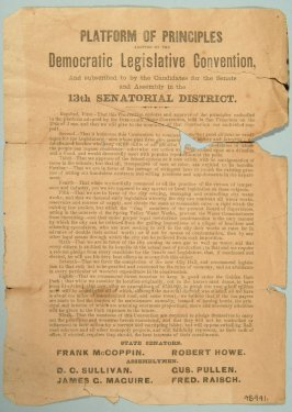 Pamphlet with Democratic platform for 13th District