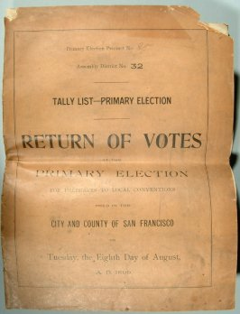 Vote Return or Tally List of Primary Election held August 8, 1899
