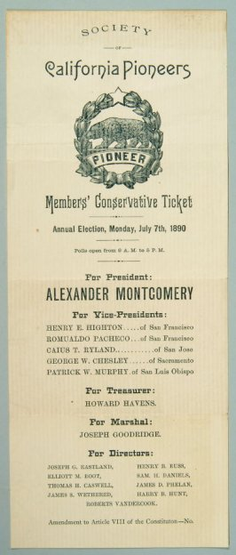 Ballot for Society of California Pioneers