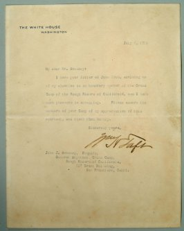 Letter from William H. Taft to J.J. Sweeney, General Adjutant of the Rough Riders, 7/6/1911