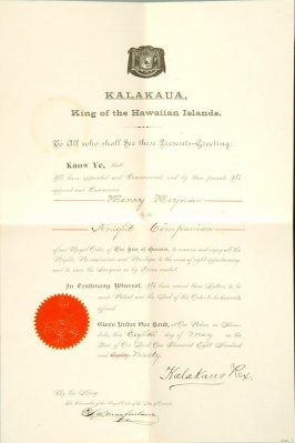 Testimonial: Sir Henry Heyman knighted by King Kalakana
