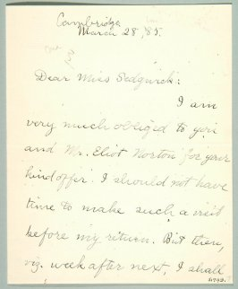 Letter of Josiah Royce dated 03/28/1885
