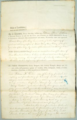 """Sale of Slave"" deed - Mary Baker to William H. Watson August 5, 1845"