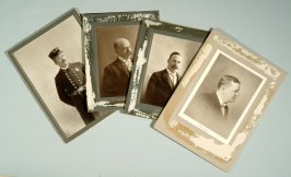 Four photographs: First Board of Police and Fire Commissioners - Thomas Morrison, William Osterman, J.A. Kidward, William Carmichael, etc.