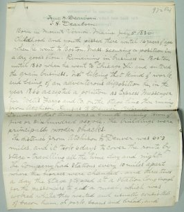 Seven page manuscript relating to True H Dearborn and T.H. Dearborn