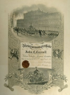 Veteran Firemen's certificate issued to John C. Carroll March 31, 1897