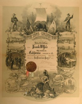 Certificate from Native Sons of the Golden West to Frank Yale, Lithogra ph by Britton and Rey, designed by Edward Hartmann