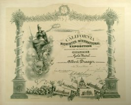 Diploma to Albert Draeger for gold medal at California Midwinter International Exposition