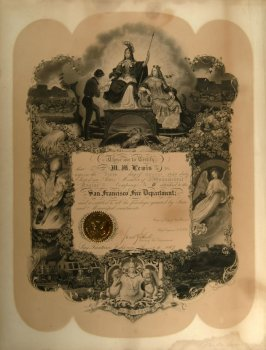 Certificate of M.M. Lewis's membership in Monumental Engine Co. # 6, 8/5/1850