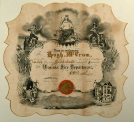 Virginia City Fire Dept. certificate issued to Hugh McCrum, electing him member of Knickerbocker Co., No. 5, 11/10/1870