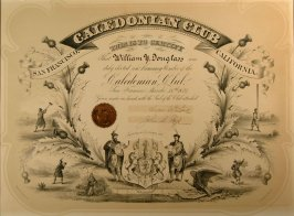Membership certificate to Caledonian Club for William Y. Douglass, 03/15/1889