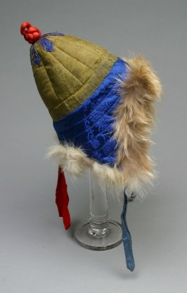 Hat gold, green and blue with blue strap