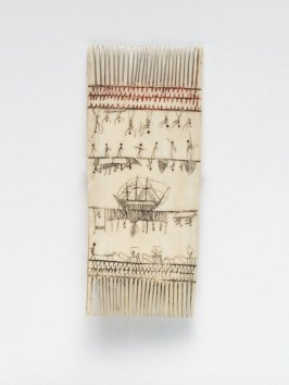 Comb with painted scenes