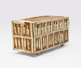 Wooden box with human and animal figures