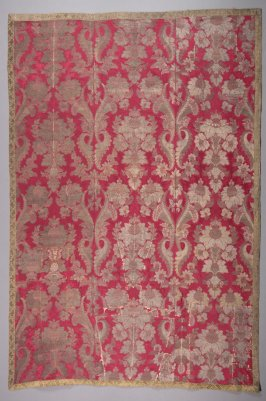 Fragment: red satin brocade with gold thread and galloon