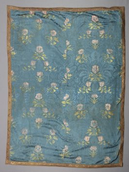 Square of blue damask, brocaded