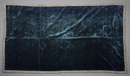 Blue velvet panel with silver galoon