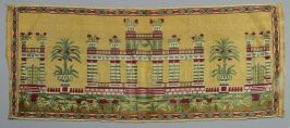 Panel: embroidery pillars and potted plants in red, green, yellow and white