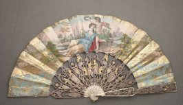 Fan, goddess and cupid