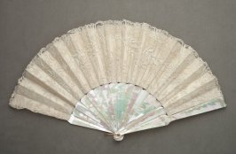 Fan, lace over satin