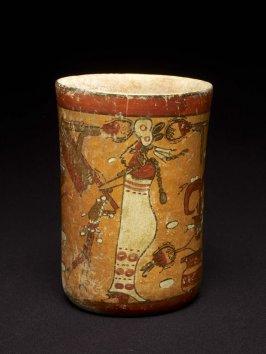 Polychrome cylinder vessel with standing female making offerings