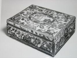 Beaded stumpwork box containing two bottles