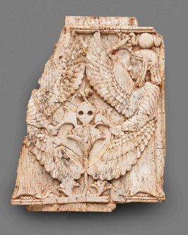 Nimrud Ivory Plaque with Two Winged Female Figures Flanking Lotus Tree