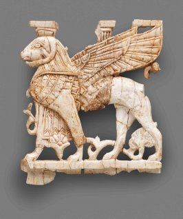 Nimrud Ivory Plaque with Winged Ram-headed Sphinx