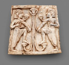 Nimrud Ivory Plaque with Youths Flanking Papyrus Column