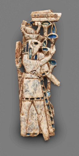 Nimrud Ivory Plaque with Falcon-headed Figure Wearing Egyptian Double Crown
