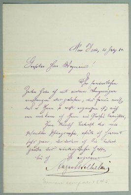 Letter of August Wilhelm