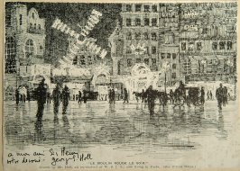 autographed reproduction of drawing of Moulin Rouge by George Holl to Henry Heyman