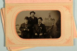 3 tintypes of various men in front of Cliff House backdrop