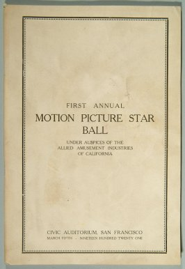 pamphlet for First Annual Motion Picture Star Ball