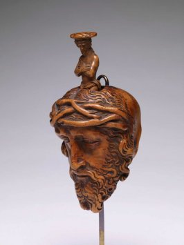 Devotional object; Memento Mori carved with a head of Christ and a skull