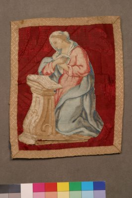 Panel woman kneeling at altar praying