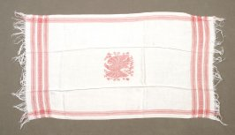 One of four towels or runners red on white