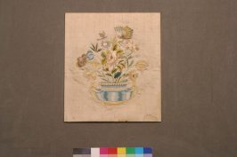 Panel: design of vase and flowers with butterflies