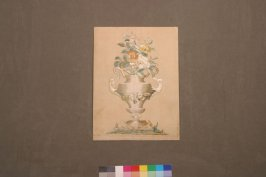 Panel: design of urn with flowersPart of group with 52836, 52839, 52948