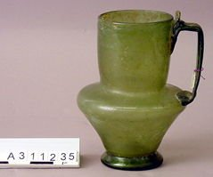 Green glass jug with handle