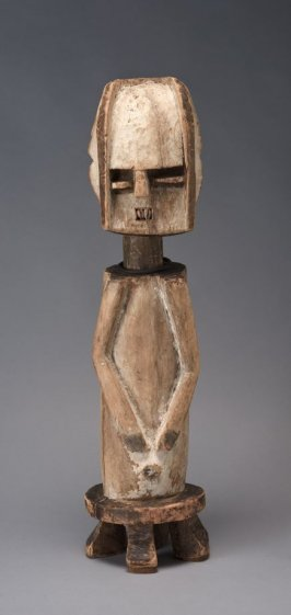Half-figure of a man on a prestige stool