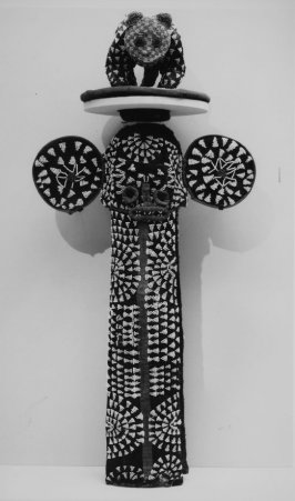 Elephant society mask with leopard crown