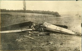 Picture postcard showing wrecked airplane