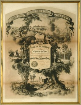 Society of California Pioneers membership certificate issued to Christian Russ