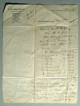 Letter and notations to General M.H. de Young, 1925