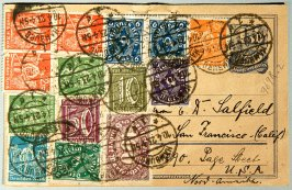 Postcard bearing German stamps