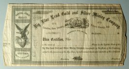 Share sheet, Big Blue Lead, Gold and Silver Mining Company