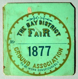 paper badge for Bay District Fair, 1877