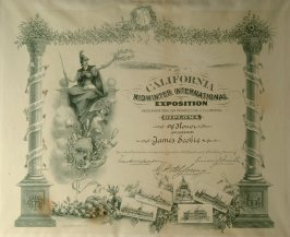 Diploma of honor issued to James Scobie, California Midwinter International Exposition