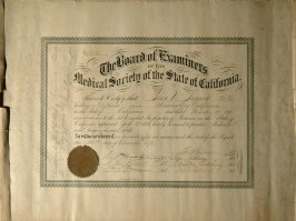 Certificate issued to Thos. W. Seawell, M.D. - see ledger